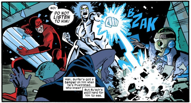 Daredevil looks appalled at the Surfer's behavior, from Daredevil #30 by Mark Waid and Chris Samnee