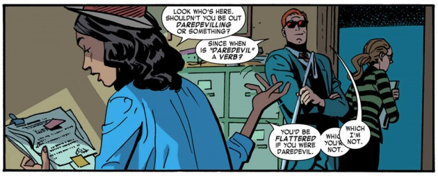 Kirsten makes herself at home at Nelson & Murdock, from Daredevil #30 by Mark Waid and Chris Samnee