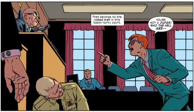 Matt yells at the judge, from Daredevil #29, by Mark Waid and Javier Rodríguez