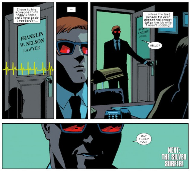 Matt finds someone in Foggy's office, as seen in Daredevil #29, by Mark Waid and Javier Rodríguez