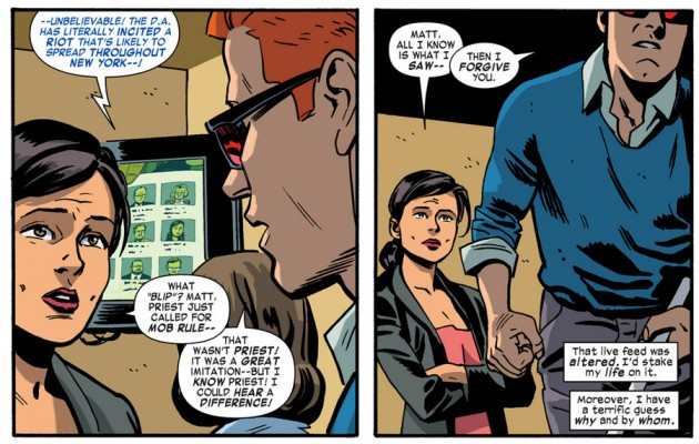 Matt talks to Kirsten in the office, from Daredevil #31, by Mark Waid and Chris Samnee