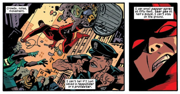 Daredevil blocks a garbage can, from Daredevil #31 by Mark Waid and Chris Samnee