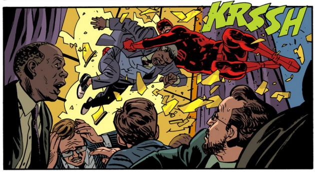 Daredevil crashes the scene, from Daredevil #31 by Mark Waid and Chris Samnee