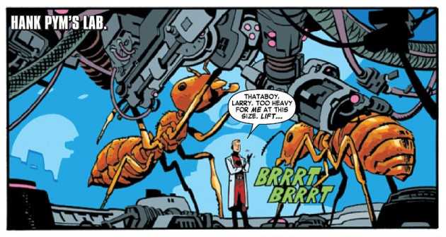 Hank Pym and his working ants, as seen in Daredevil #31, by Mark Waid and Chris Samnee