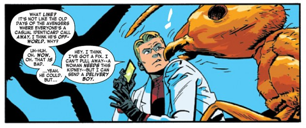 Larry the ant gets up close and personal, from Daredevil #31 by Mark Waid and Chris Samnee