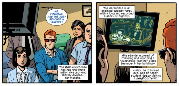 Matt and his office staff watch the verdict come in, from Daredevil #31 by Mark Waid and Chris Samnee