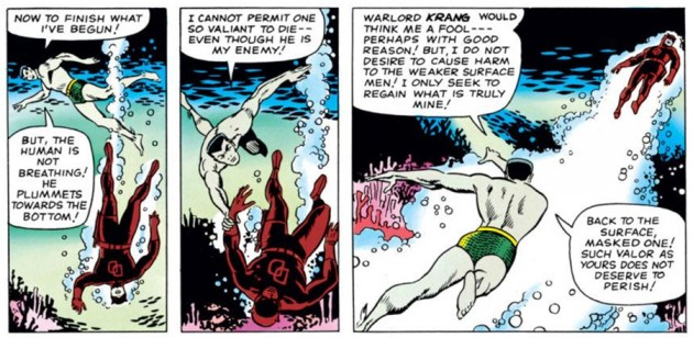 Daredevil and Namor beneath the surface, as seen in Daredevil #7 (vol 1), by Stan Lee and Wally Wood