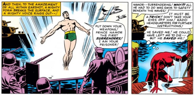 Daredevil climbs up on the dock after fighting Namor, as seen in Daredevil #7 (vol 1), by Stan Lee and Wally Wood