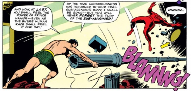 Namor hits Daredevil with a lamp post, as seen in Daredevil #7 (vol 1), by Stan Lee and Wally Wood