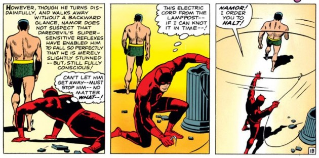 Daredevil regains his composure in the middle of his battle with Namor, as seen in Daredevil #7 (vol 1), by Stan Lee and Wally Wood