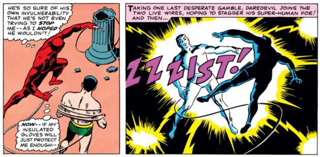 Daredevil gets himself electrocuted, as seen in Daredevil #7 (vol 1), by Stan Lee and Wally Wood