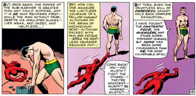 Daredevil is down for the count, as seen in Daredevil #7 (vol 1), by Stan Lee and Wally Wood
