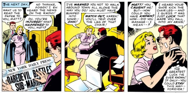Karen falls into Matt's arms, as seen in Daredevil #7 (vol 1), by Stan Lee and Wally Wood