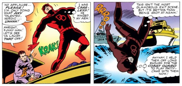 Daredevil is grazed by a bullet, as seen in Daredevil #9 (vol 1), by Stan Lee and Wally Wood