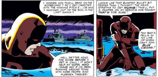 Daredevil returns to shore wounded, as seen in Daredevil #9 (vol 1), by Stan Lee and Wally Wood