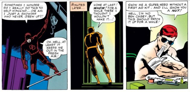 Daredevil stumbles home and patches himself up, as seen in Daredevil #9 (vol 1), by Stan Lee and Wally Wood