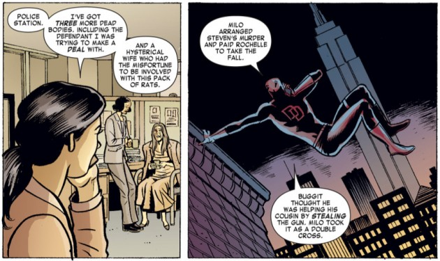 Daredevil on the phone with Kirsten, from Daredevil: Dark Knights #5 by David Lapham