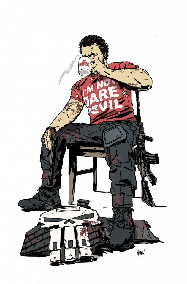 The Punisher wearing and I'm Not Daredevil shirt