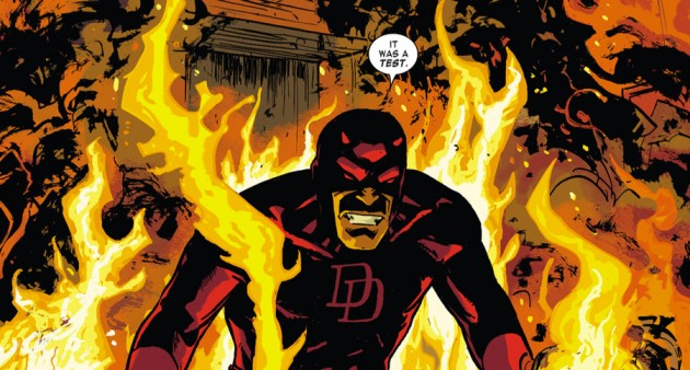 Daredevil walking through fire, from Daredevil #33 by Mark Waid, Chris Samnee and Jason Copland
