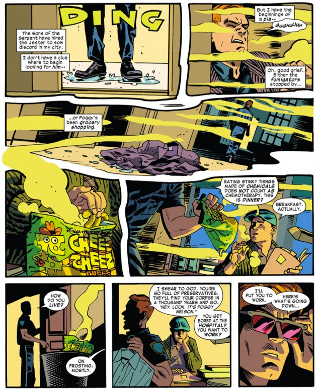 Matt in a sea of cheese smell, as seen in Daredevil #32 by Mark Waid and Chris Samnee