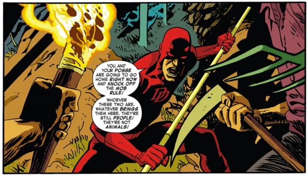 Daredevil in the woods, as seen in Daredevil #32 by Mark Waid and Chris Samnee