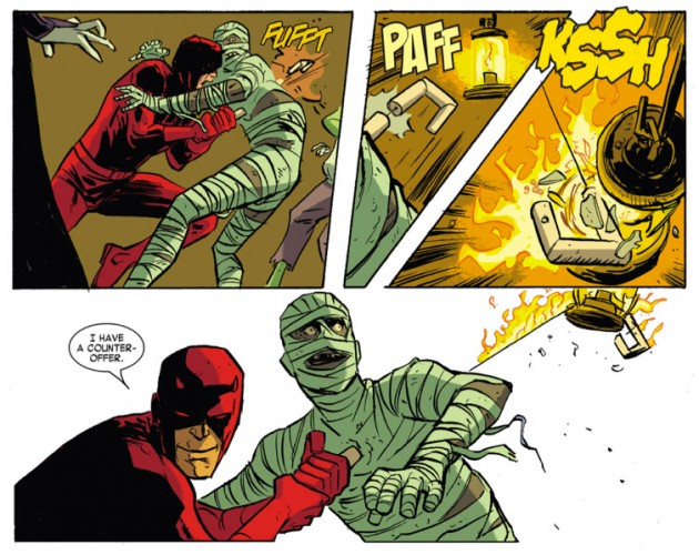 Daredevil plays it smart, as seen in Daredevil #33 by Mark Waid, Chris Samnee and Jason Copland