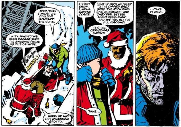 Matt catches Turk and Grotto stealing a Santa Claus costume, from Daredevil #229 by Frank Miller and David Mazzucchelli