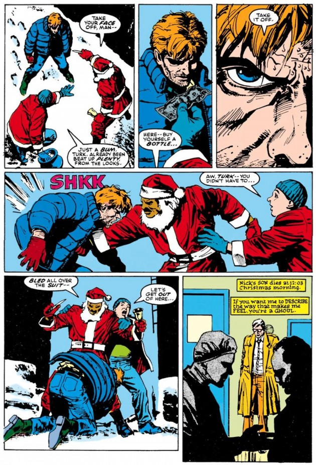 Matt is beaten up by Turk and Grotto, from Daredevil #229 by Frank Miller and David Mazzucchelli