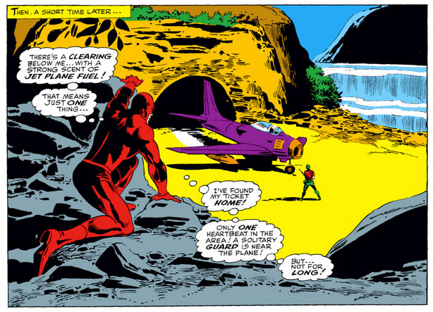 Daredevil comes across a plane, from Daredevil #24 by Stan Lee and Gene Colan