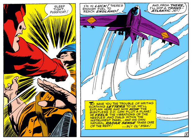 Daredevil takes off in a plane, as seen in Daredevil #24 by Stan Lee and Gene Colan