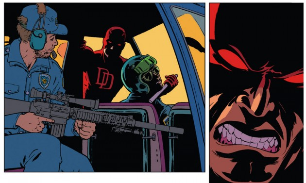 Daredevil attacks the Sons of the Serpents in a helicopter, from Daredevil #34 by Mark Waid and Javier Rodríguez