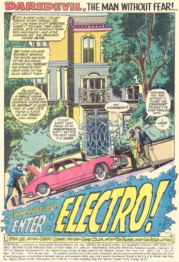 Matt and Natasha pull up to their new house, from Daredevil #87 by Gerry Conway and Gene Colan