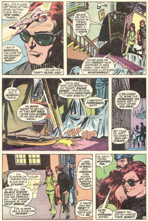 Matt and Natasha explore the house, from Daredevil #87 by Gerry Conway and Gene Colan