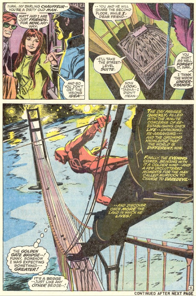 Daredevil atop the Golden Gate bridge, from Daredevil #87 by Gerry Conway and Gene Colan
