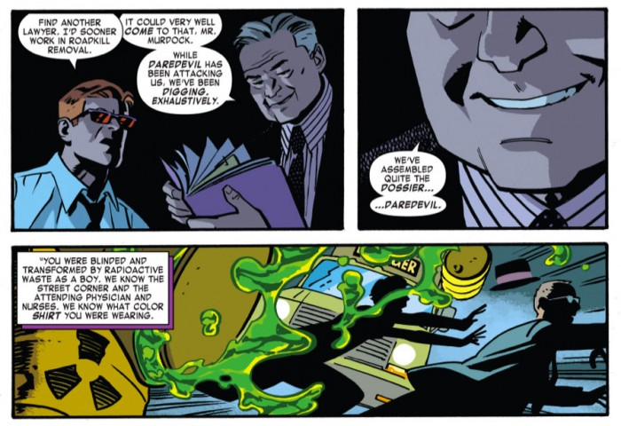 Matt faces a couple of Serpents, as seen in Daredevil #35 by Mark Waid and Chris Samnee