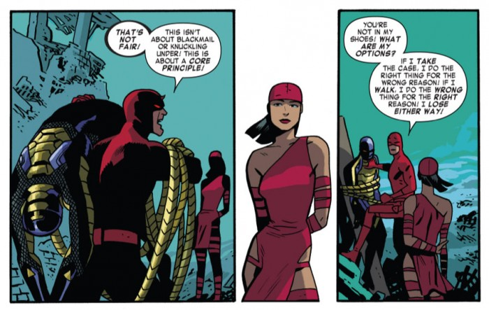 Matt and Elektra, in Daredevil #35 by Mark Waid and Chris Samnee