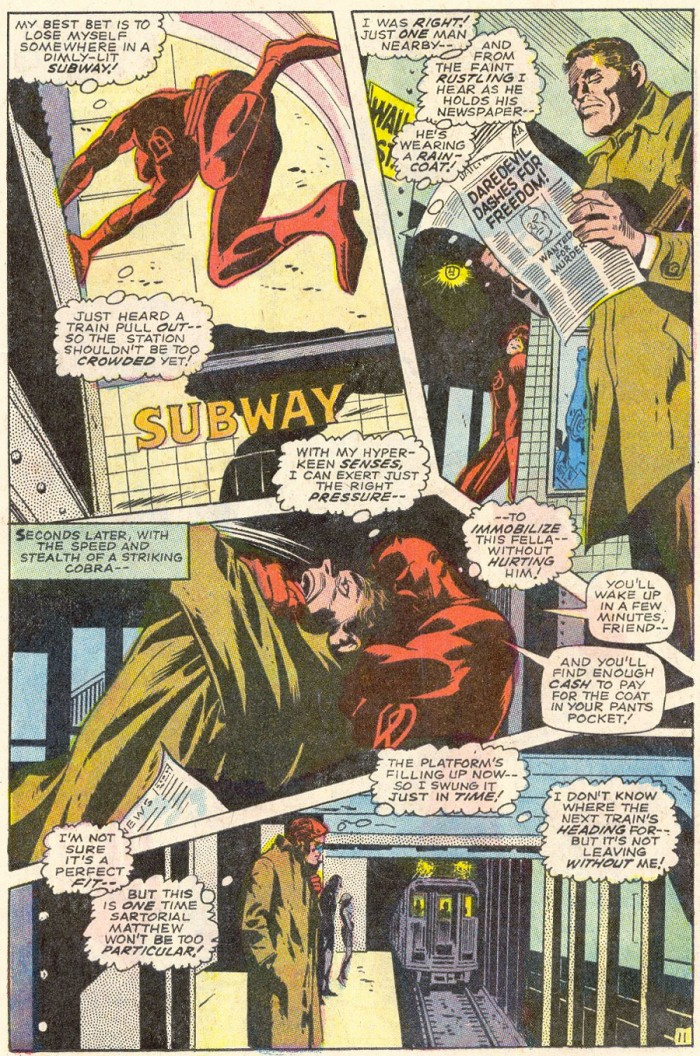 Daredevil renders a man unconscious and steals his coat, as seen in Daredevil #45 by Stan Lee and Gene Colan