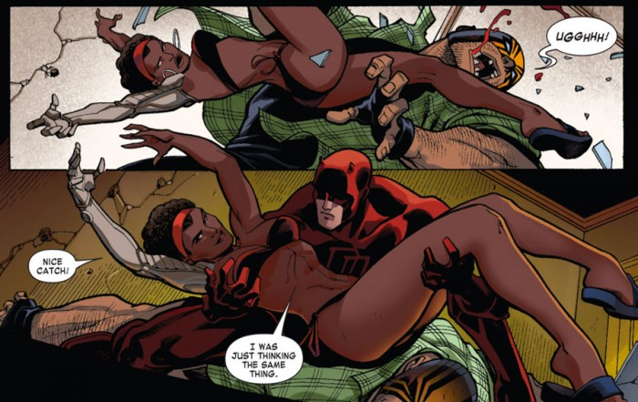 Daredevil catches Misty Knight, as seen in Daredevil: Dark Nights #6 by Jimmy Palmiotti and Thony Silas