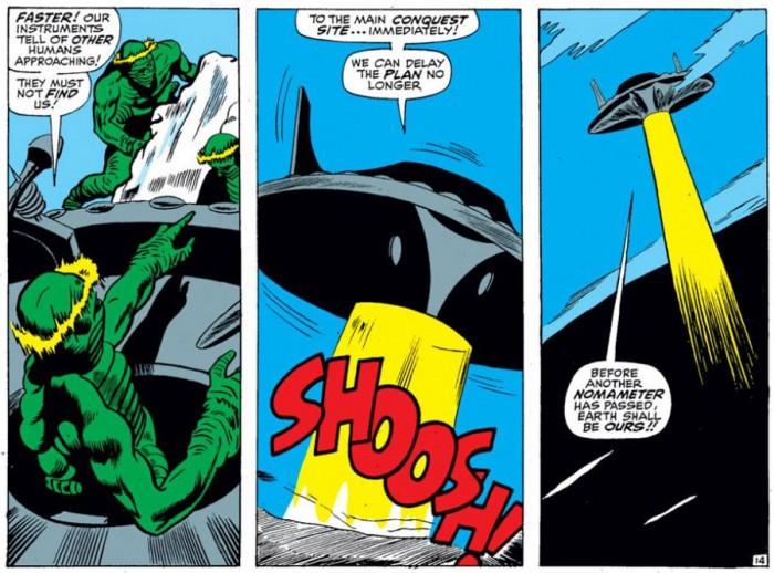 The aliens first mention the nomameter, from Daredevil #28 by Stan Lee and Gene Colan