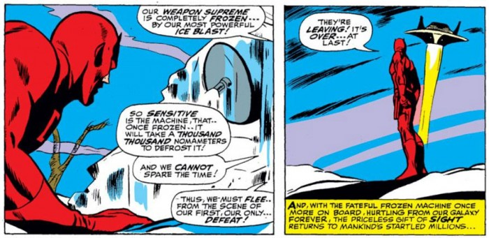 The aliens have a defrosting problem, from Daredevil #28 by Stan Lee and Gene Colan