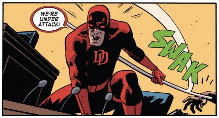 Daredevil in court, as seen in Daredevil #36 by Mark Waid and Chris Samnee