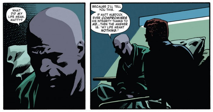 Matt and Foggy talk in the hospital, as seen in Daredevil #36 by Mark Waid and Chris Samnee