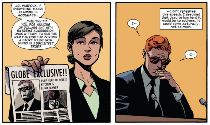 Matt talks about his law suit in court, as seen in Daredevil #36 by Mark Waid and Chris Samnee