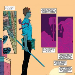 Matt on the roof top, not succumbing to depression, as seen in Daredevil #34 by Mark Waid and Javier Rodríguez.