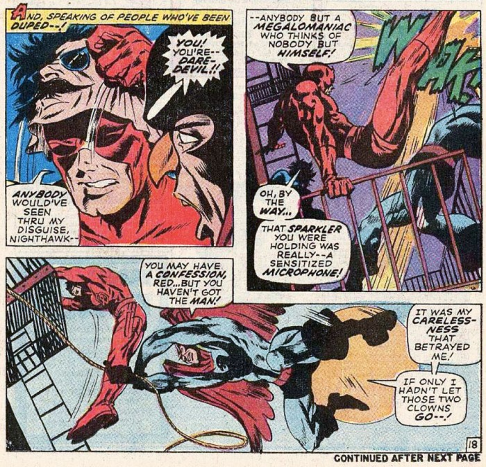 Daredevil in disguise, from Daredevil #62 by Roy Thomas and Gene Colan