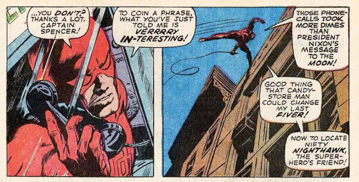 Daredevil makes phone calls, as seen in Daredevil #62 by Roy Thomas and Gene Colan