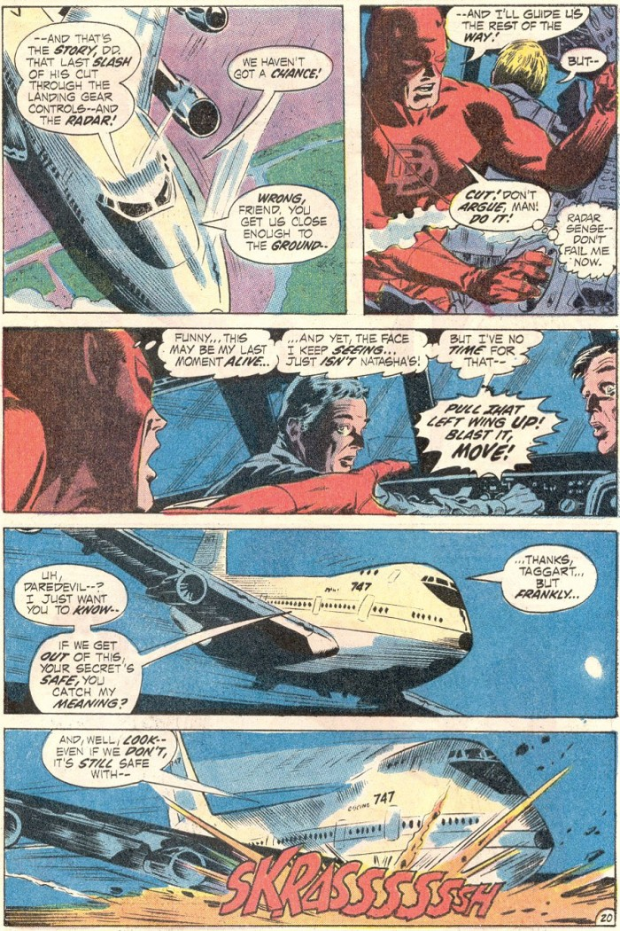 Daredevil assists in landing a Boeing 747, in Daredevil #85 by Gerry Conway and Gene Colan