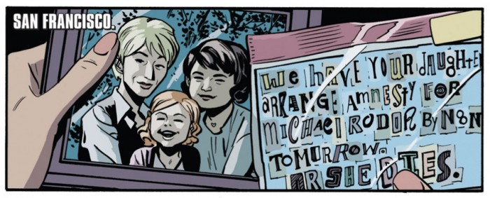 Chelsea has two moms, from Daredevil #1 (vol 4), by Mark Waid and Chris Samnee