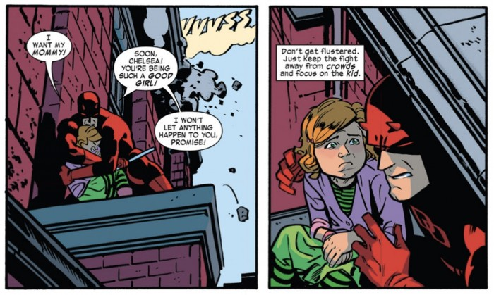 Daredevil comforts a little girl, in Daredevil #1 (vol 4) by Mark Waid and Chris Samnee