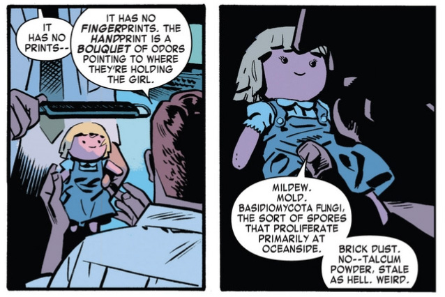 Matt examines Chelsea's doll, from Daredevil #1 (vol 4), by Mark Waid and Chris Samnee